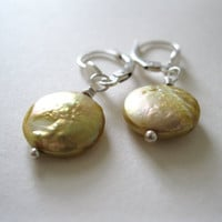 Freshwater Pearl Golden Coins and Sterling Silver Earrings - UK Seller