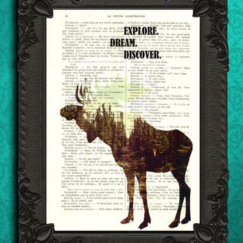 inspirational quote print, moose silhouette, woodland animals on book pages. Explore dream discover - moose decor, nature prints