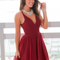 Burgundy Short Dress with Lace Back