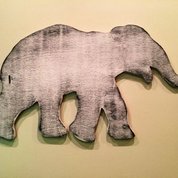 Large elephant sign wall decor, Custom cut in wood, hand painted, playroom, nursery or child's bedroom baby, carved, engraved, cut out