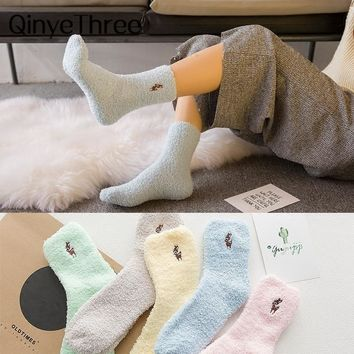 Embroidery CAT Deer Thicken women socks Lovely Plush Warm Sleep ladies girl Socks hosiery Winter Soft Home Accessories Sox Gifts