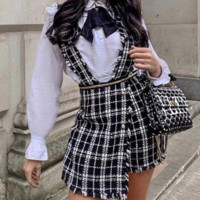 Hot style hot selling plaid strap shorts metal zipper