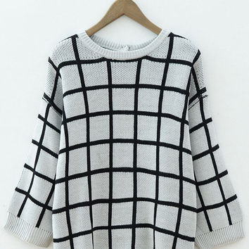 Plaid Knitted Long Sleeve Sweater