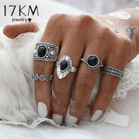 17KM Vintage Turkish Ring Sets Antique Stone Midi finger Rings for Women 2017 Punk Style 2 Color Anillos Knuckle Rings Dropship