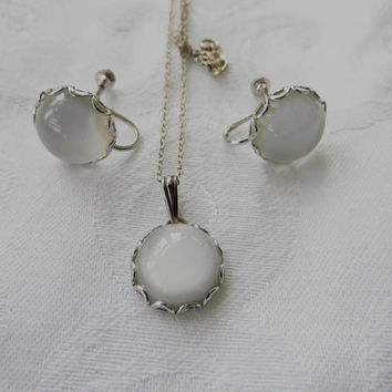 Vintage Moonstone Necklace Set, Sterling Silver Screw Back Earrings, Original Box, Moonstone Jewelry