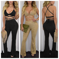 Strappy Criss-cross Cutout Wide Leg Jumpsuit