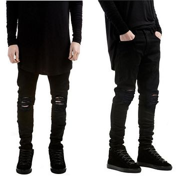 Scratched Slim Fit Holes Denim Skinny Biker Jeans