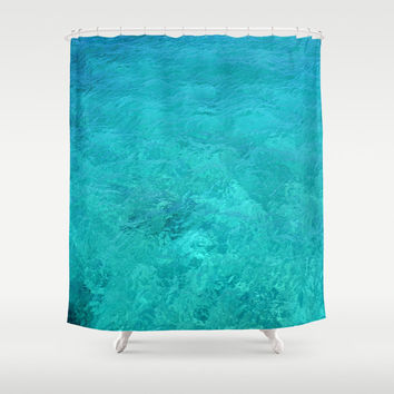 "Shower Curtain - 'Clear Turquoise Water' - 71"" by 74"" Home, Decor, Bathroom, Bath, Dorm, Girl, Christmas, Gift, Ocean, Turquoise"