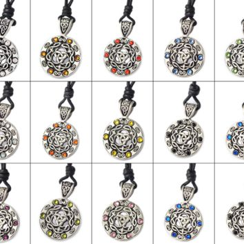 Colorful Celtic Trilogy Silver Pewter Charm Necklace Pendant Jewelry