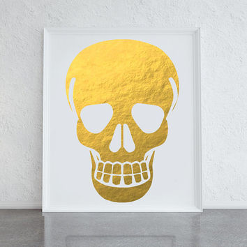Gold foil skull print, quirky art for the home, office or mancave, human skull art, skeleton art print, cute housewarming gift