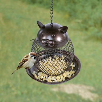 Cat Shaped Bird Feeder Cat Shaped Vintage Handmade Outdoor Decor Villa Garden Decoration Hanging Bird Outdoor Feeder