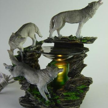 White Wolf Table Fragrance Aroma Lamp Oil Diffuser Wax Tart Candle Warmer Burner Home Decor