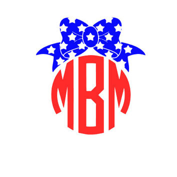 Bow monogram, fourth of july monogram, Star monogram bow
