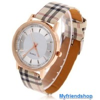 Casual leather strap stripes design woman watch - Myfriendshop