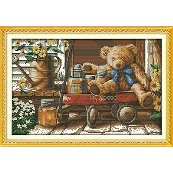 Honey Bear cross stitch kit 14ct 11ct count print canvas stitching embroidery DIY handmade needlework