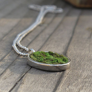 Moss Necklace, Eco Friendly Necklace, Terrarium, Terrarium Jewelry, Living Plant Jewelry, Earth Day Necklace