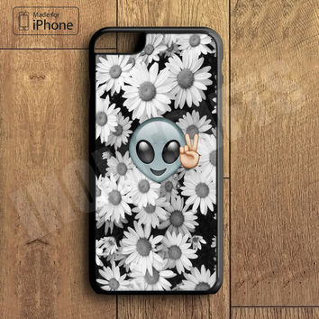Funny Alien Peace Black Emoji Daisy Flower Phone Case For iPhone 6 Plus For iPhone 6 For iPhone 5/5S For iPhone 4/4S For iPhone 5C3 iPhone X 8 8 Plus