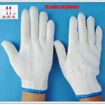 2017 new gloves white wear large code gloves cotton cotton encryption gloves10 21*10protect double / package