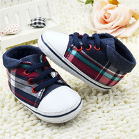 Denim Plaid Lace Up Sneakers