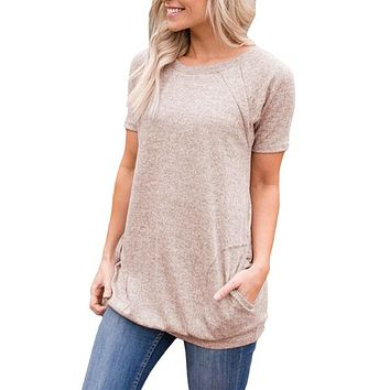 Casual Khaki Heathered Short Sleeve Pocket Tee