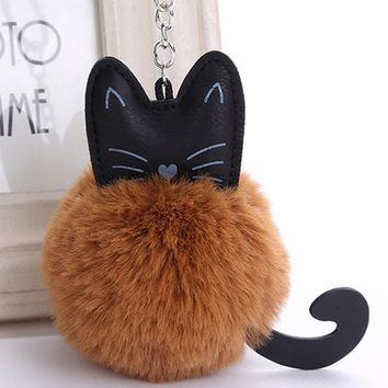 2018 New Fluffy Cat Keychain Pompon Key chain Artificial Rabbit Fur Ball Key Rings Women Bag Car Charm Pendant pom pom holder
