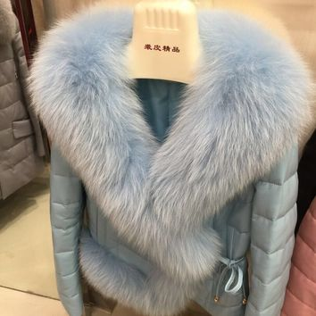 New Genuine Sheepskin Women's Winter Coat ,Real Leather Down Parka With Huge Natural Fox Fur Trim Collar female jaqueta feminina