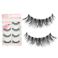 5 Pairs Black  Cosmetic Cross False Eyelash Soft Long Makeup Eye Lash Extension Chic Design
