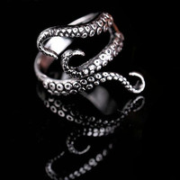OPAL FERRIE - Titanium Gothic Punk Deep sea squid Octopus finger ring open Adjustable size