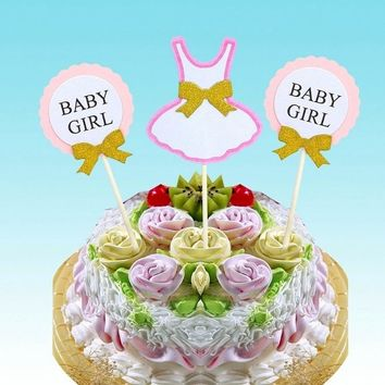 cake toppers baby girl boy paper cards banner for fruit Cupcake Wrapper Baking Cup  tea party wedding decoration baby shower
