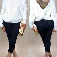New White Pleated Irregular Deep V-neck Off Shoulder Backless Casual Pullover Sweater