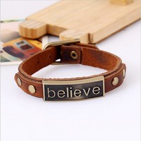 "Mens/Womens Alloy Leather ""believe"" Bracelet"