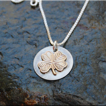 Lucky 4 Leaf Clover Pendant Necklace, Gold Lucky Clover Pendant, Clover Charm, Sterling Silver clover charm, Hand soldered Good Luck Charm