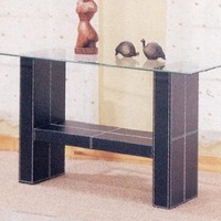 Sofa Table with Glass Top in Black Bonded Leather