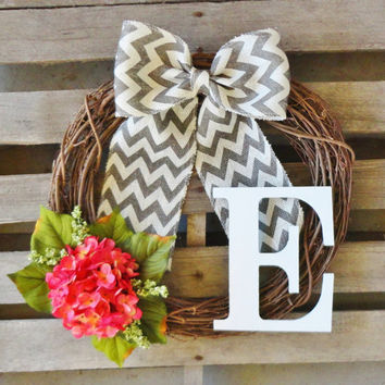 Wreath,Monogram Door Wreath,Hydrangea Wreath,Year Round Wreath,Door Hanger,Door Monogram,Letter Wreath,Custom Wreath,Monogrammed Wreath,Gift
