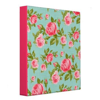 Girly Cottage Chic Romantic Floral Vintage Roses Vinyl Binder from Zazzle.com