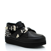 studded-cut-out-creepers BLACK WHITE - GoJane.com