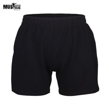 """Gym Shorts Men's 5"""" Inseam Bodybuilding Fitness Training Sportswear Running Cotton Short Pants MUSCLE ALIVE Workout For Man"""