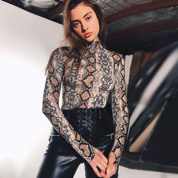 New Fashion Cool Women Sexy Snake Skin Print Bodysuits Turtleneck Bodycon Night Club Jumpsuit Long Sleeve Slim Autumn Playsuit