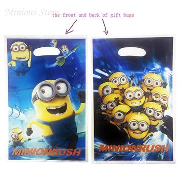 10Pcs/lot Minions Cartoon Bags Boy Girl Baby Happy Birthday Party Decoration Minions Party Decorations Kids Loot Bag Gift Bags