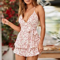 Backless Spaghetti Strap Chiffon Playsuits Rompers Bow Ruffles Playsuits Beach Floral Print Playsuit Romper