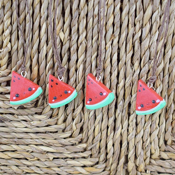 Kawaii Watermelon Slice Necklace | Polymer Clay Charm | Miniature Food Fruit | Charm Bracelet Necklace | Cute Handmade Gift |