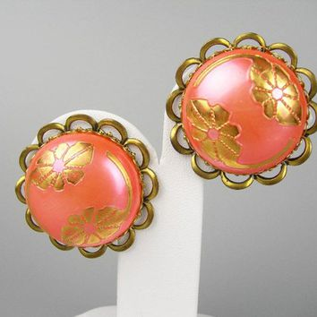 "Pale Orange and Gold Round Clip-on Earrings, Vintage 1950s Era Jewelry, Pearlized Cabochon with Imprinted Gold Flowers, Large 1.5"" Earrings"