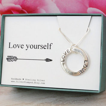Birthday gift Love necklace - Love yourself - sterling silver pendant LOVE inspirational gift for best friend girlfriend daughter niece