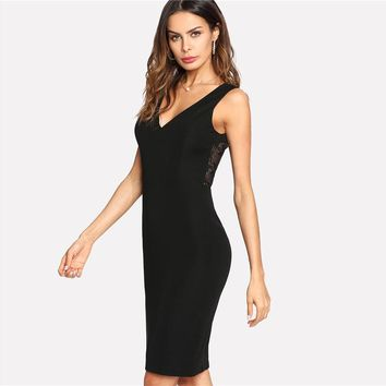 Fahion  Dress Black Contrast Scalloped Eyelash Lace Party Dress Women Sexy Backless Short Dress