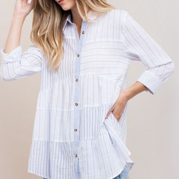 Patchwork Frilled Button Down