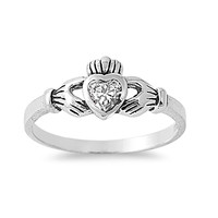 925 Sterling Silver CZ Gift of the Claddagh Ring 7MM