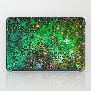 RAINBOW DOTTY OCEAN 3 Green Lime Ombre Space Galaxy Colorful Polka Dot Bubbles Abstract Painting Art iPad Case by EbiEmporium
