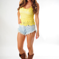 Crazy For Crotchet Top: Yellow