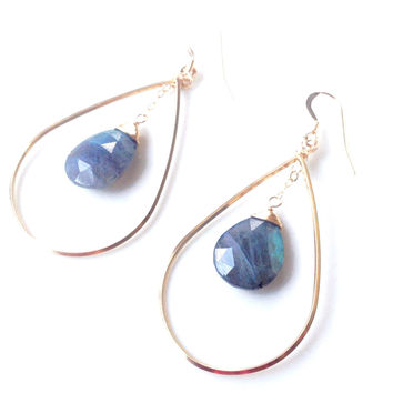 Bari Labradorite Oval Drop Earrings