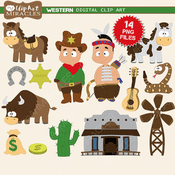 Western clip art, Wild west clipart, Cute western party decoration kit, Western graphics / Instant download, personal and commercial use
